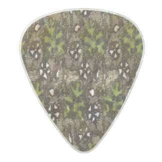 Vintage Woodsy Floral Pearl Celluloid Guitar Pick
