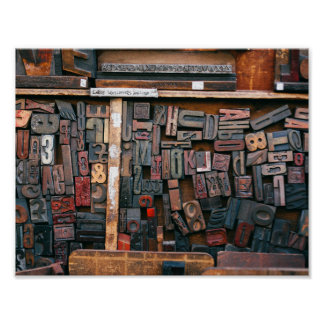 Vintage Woodtype Printing Poster