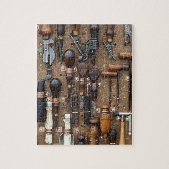Vintage Woodworking leather craft kitchen tools Jigsaw Puzzle Zazzle.com
