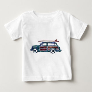 Vintage Woody Station Wagon Car with Surfboards Baby T-Shirt