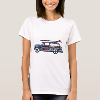 Vintage Woody Station Wagon Car with Surfboards T-Shirt