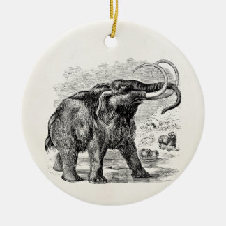 Vintage Woolly Mammoth Personalized Extinct Animal Double-Sided Ceramic Round Christmas Ornament