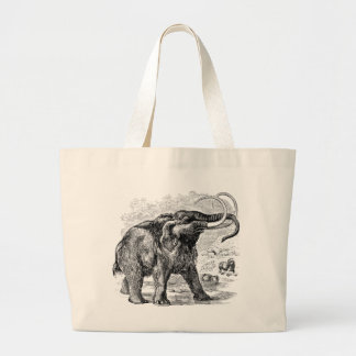 Vintage Woolly Mammoth Personalized Extinct Animal Large Tote Bag
