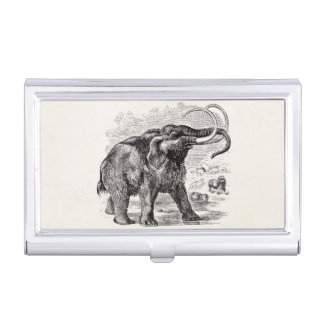 Vintage Woolly Mammoth Personalized Extinct Animal Business Card Cases