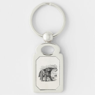 Vintage Woolly Mammoth Personalized Extinct Animal Silver-Colored Rectangular Metal Keychain