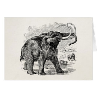 Vintage Woolly Mammoth Personalized Extinct Animal Stationery Note Card