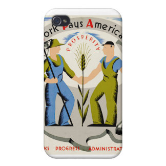 Vintage Work Pays America WPA Poster Cover For iPhone 4