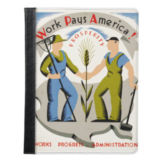Vintage Work Pays America WPA Poster iPad Case
