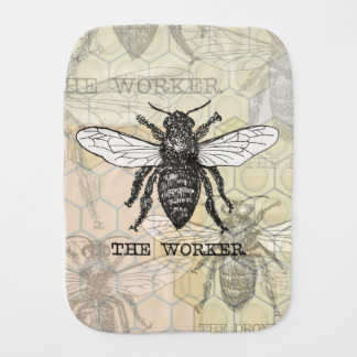 Vintage Worker Bee Illustration Art Print Honey Burp Cloth