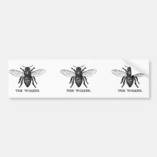 Vintage Worker Bee Illustration Bumper Sticker
