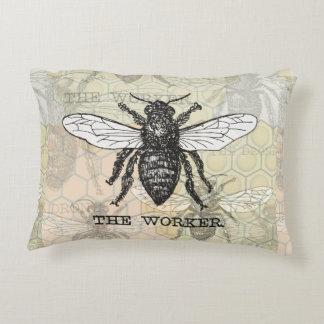 Vintage Worker Bee Illustration Decorative Pillow