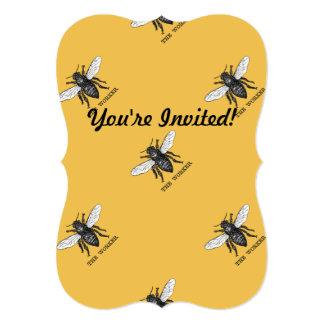 """Vintage Worker Bee Illustration 5"""" X 7"""" Invitation Card"""