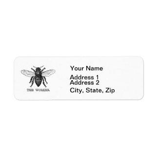 Vintage Worker Bee Illustration Label