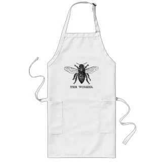 Vintage Worker Bee Illustration Long Apron
