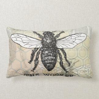 Vintage Worker Bee Illustration Pillow
