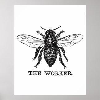 Vintage Worker Bee Illustration Poster