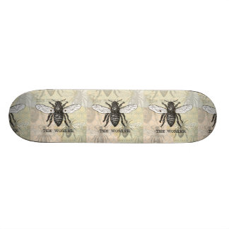 Vintage Worker Bee Illustration Skateboard Deck