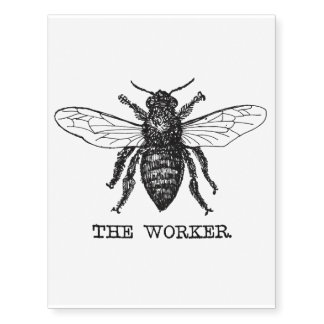 Vintage Worker Bee Illustration Temporary Tattoos