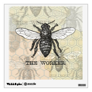 Vintage Worker Bee Illustration Wall Decal