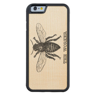 Vintage Worker Bee Illustration Carved® Maple iPhone 6 Bumper Case