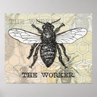 Vintage Worker Bee Print Animal Illustration