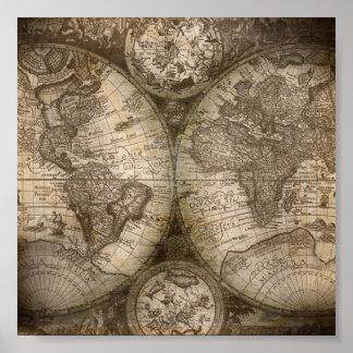 Vintage World Atlas Map Poster
