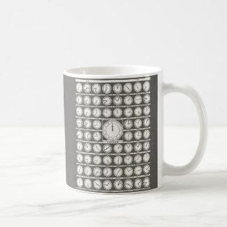 Vintage World Clocks Diagram - world time zones Classic White Coffee Mug