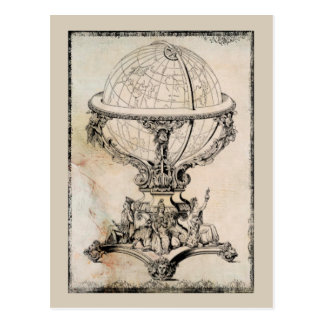 Vintage World Globe Map Print Postcard
