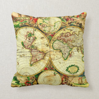 Vintage World Map 1594 Pillow