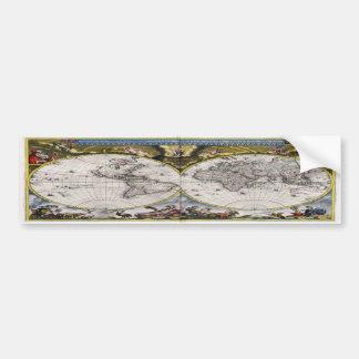 Vintage World Map (1664) Bumper Sticker