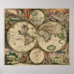 Vintage World Map 1689 Poster