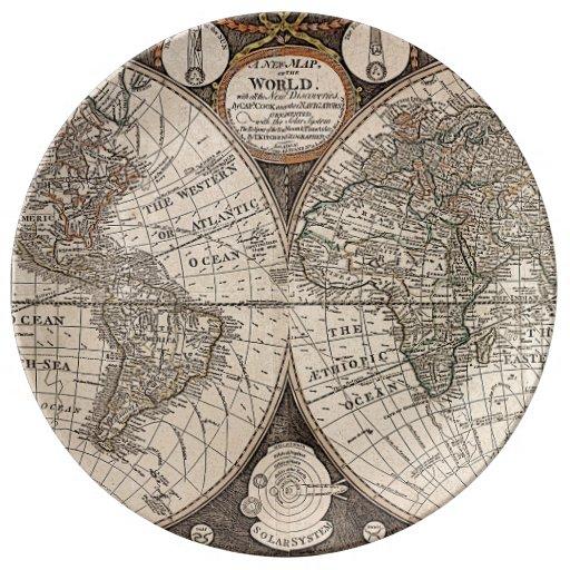 Vintage World Map (1766) Porcelain Plates