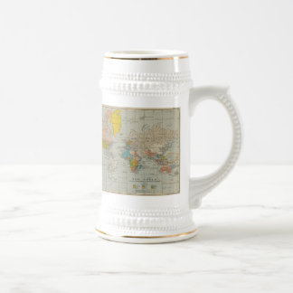 Vintage World Map 1910 18 Oz Beer Stein
