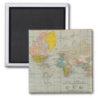 Vintage World Map 1910 2 Inch Square Magnet