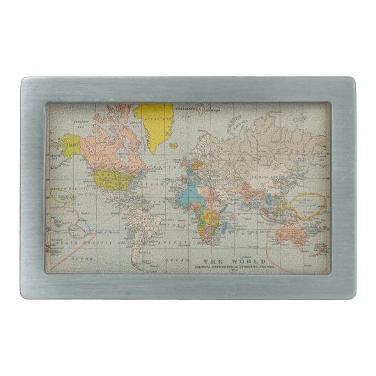 Vintage World Map 1910 Belt Buckle