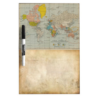 Vintage World Map 1910 Dry Erase Board