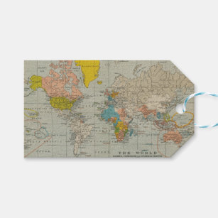 Vintage world map gift tags zazzle vintage world map 1910 gift tags gumiabroncs