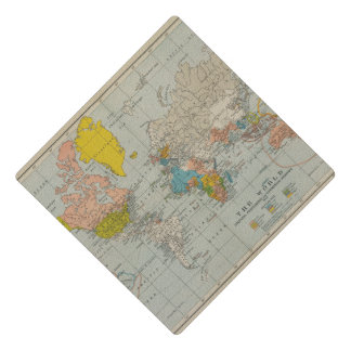 Vintage World Map 1910 Graduation Cap Topper