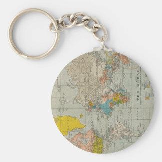 Vintage World Map 1910 Keychain