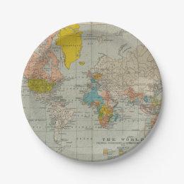 Vintage World Map 1910 Paper Plate