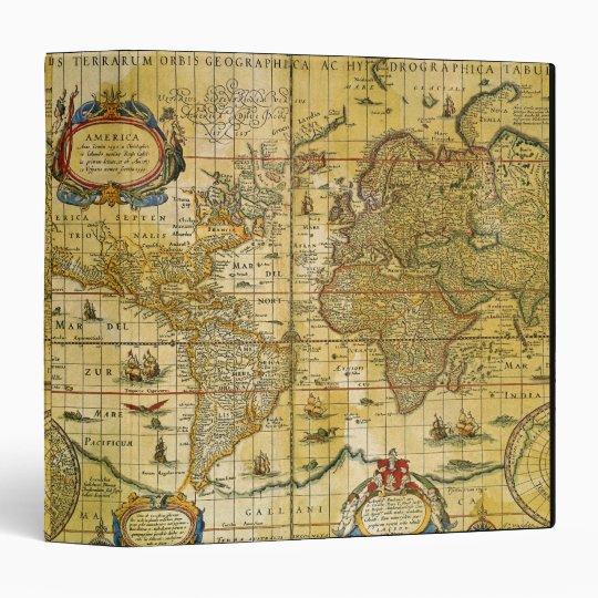 Vintage World Map 3 Ring Binder