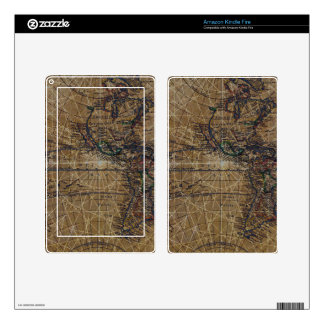 Vintage World Map Abstract Design Skins For Kindle Fire