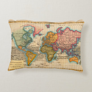 Vintage World Map Accent Pillow