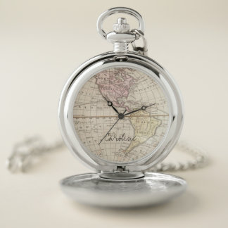 Vintage World Map. Add Name. Pocket Watch