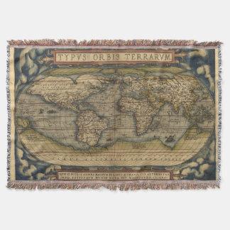 Vintage World Map Afghan Throw