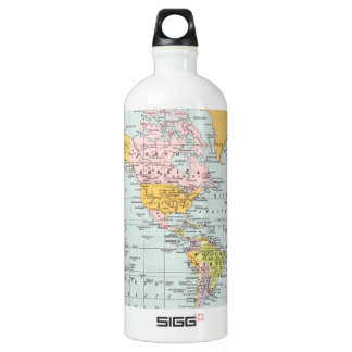 Vintage World Map Aluminum Water Bottle