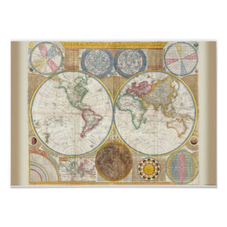 Vintage World Map and Astronomy Chart Exquisite Poster