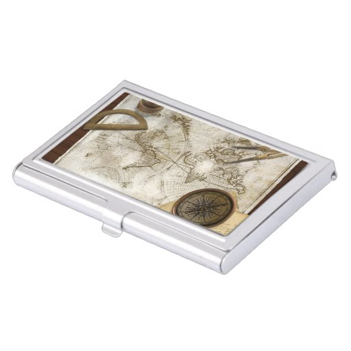 Vintage World Map And Tools Business Card Holder