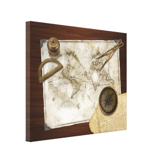 Vintage World Map And Tools Canvas Print