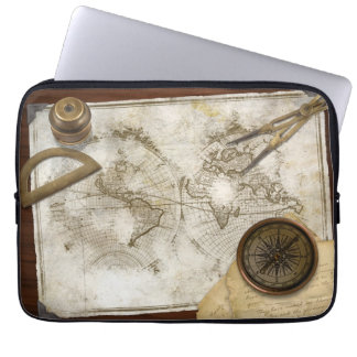 Vintage World Map And Tools Computer Sleeve